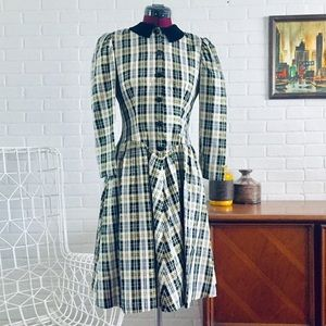 80s does 50s Metallic Plaid Dress Full Skirt S